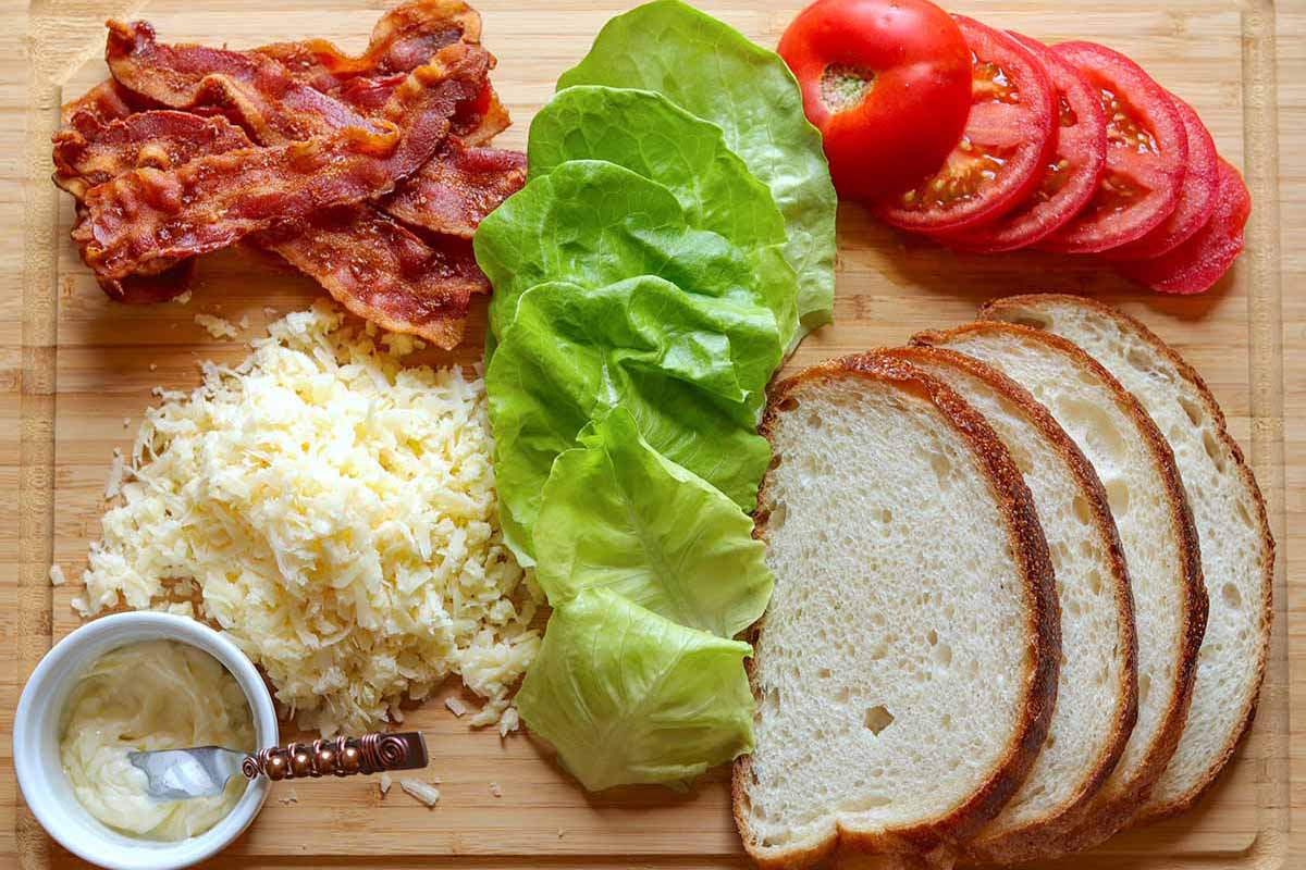 How to make a grilled cheese BLT - a photo of all the ingredients