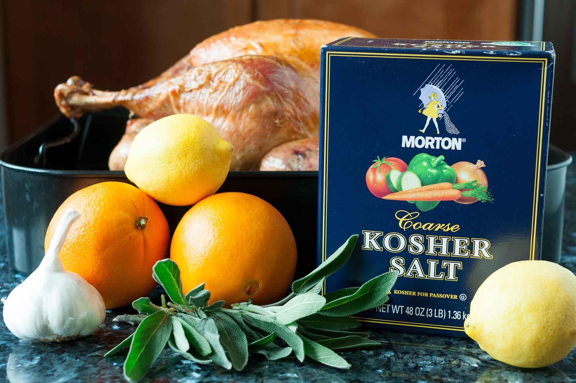 Easy Turkey Brine simple ingredients for turkey brine citrus, garlic and sage