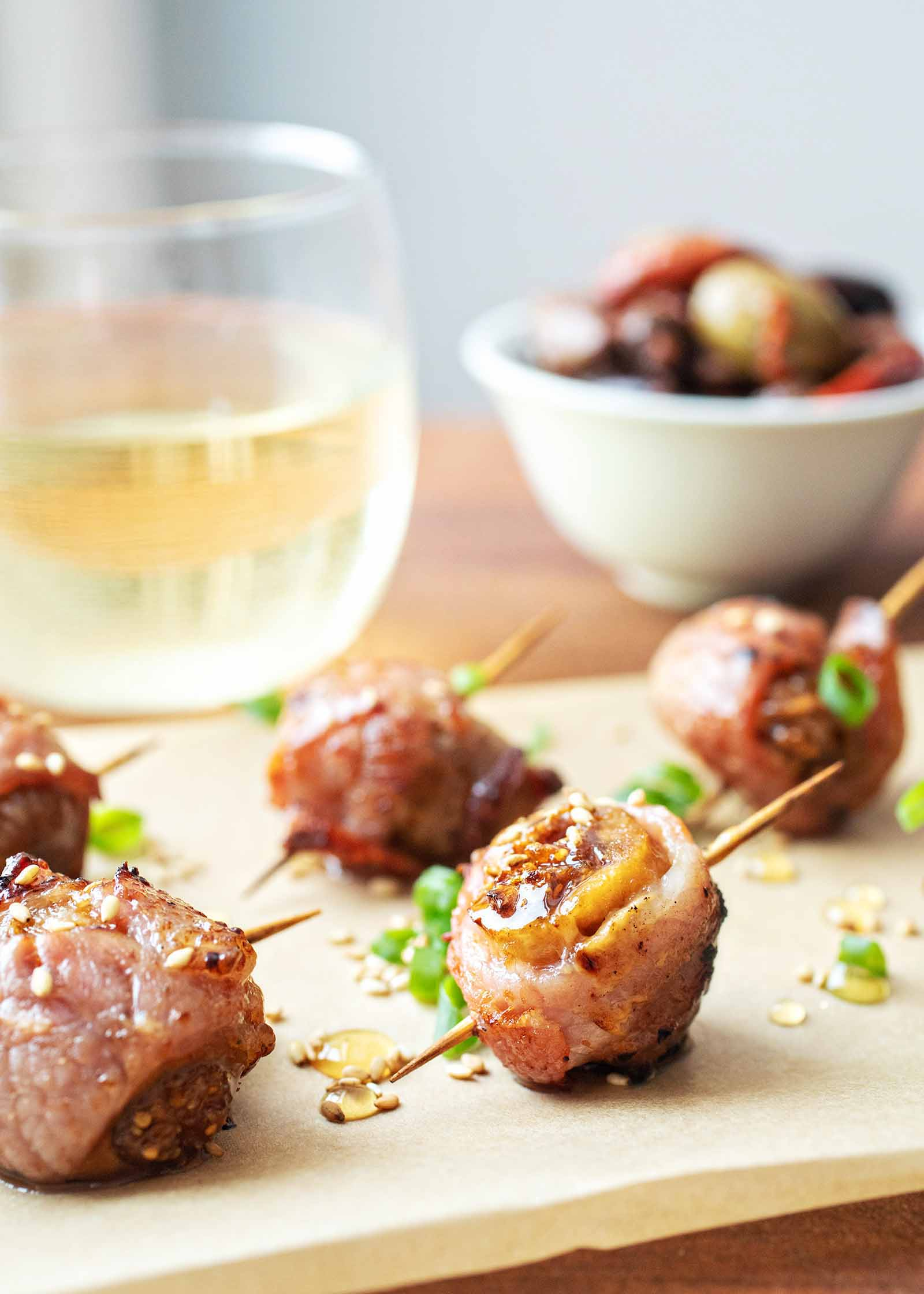 Air fryer bacon-wrapped figs party appetizer