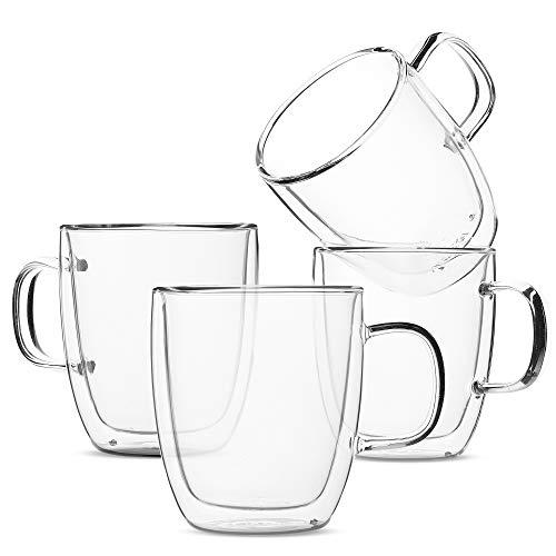BTäT- Insulated Glass Coffee Mugs, 12 ounces, Set of 4