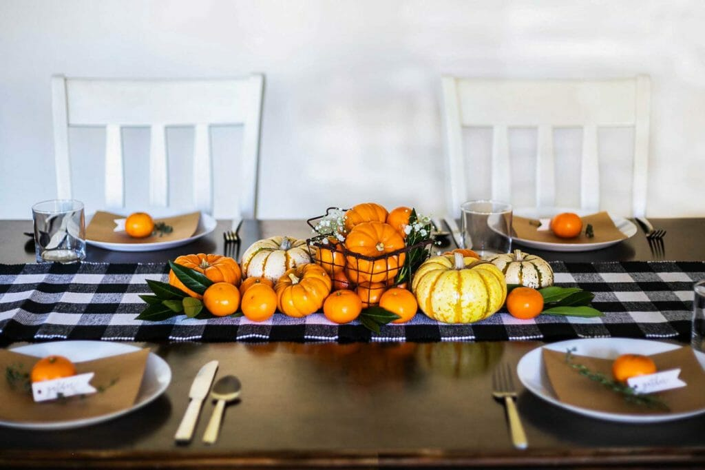 clementines pumpkins and squash centerpiece