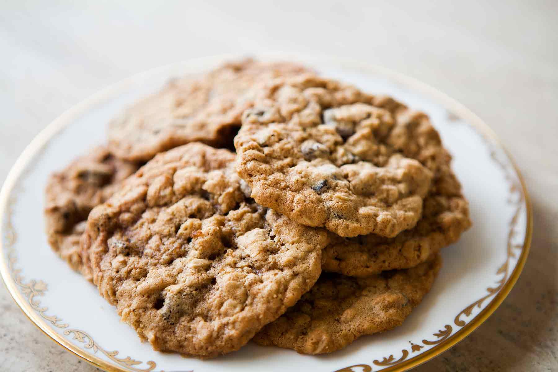 Easy Oatmeal Raisin Cookies on Plate