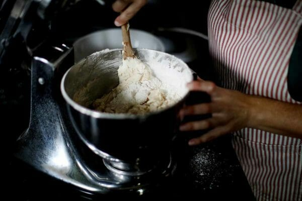 Snickerdoodle Bars stir the flour in by hand