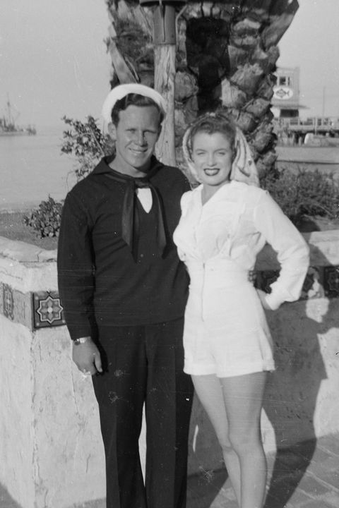 "<p>Dougherty and Monroe on Catalina Island, where he was stationed for boot camp. They <a href=""http://articles.latimes.com/2005/aug/18/local/me-dougherty18"" target=""_blank"" data-external=""true"">divorced</a> in 1946.</p>"