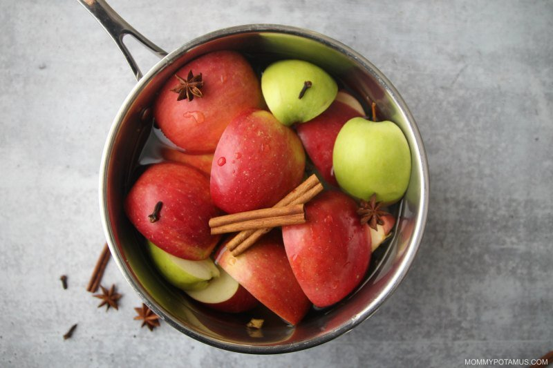Ingredients for hot apple cider ready to simmer in a pot