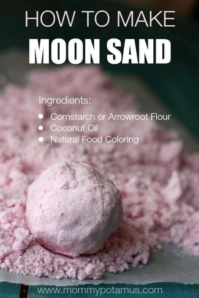 Moon sand is squishy & crumbly, & itcrunches like a bean bagwhen you squeeze it. You can mold with it, or you can smash it. Here's how to make it.