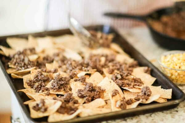 Sheet Pan Nachos with Ground Beef add the beef