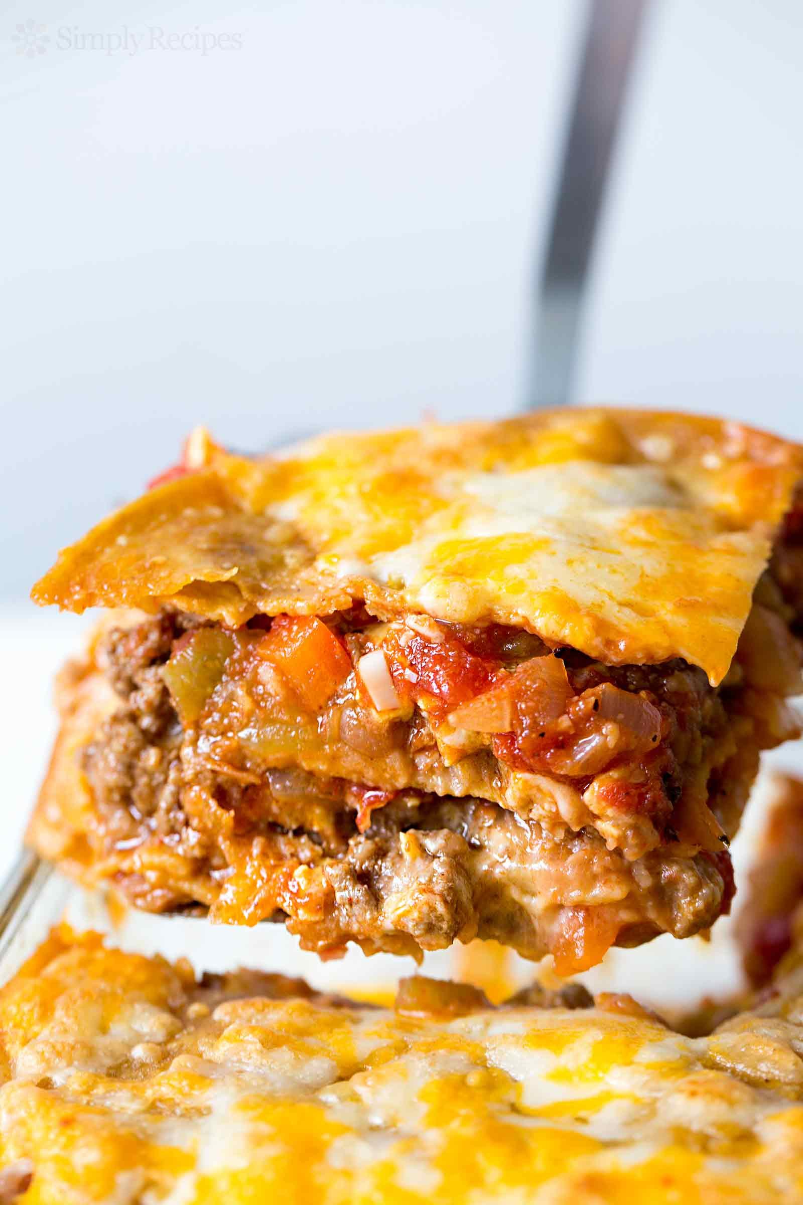 taco lasagna slice