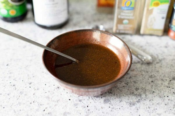 Ingredients mixed together for a balsamic marinade for steaks.