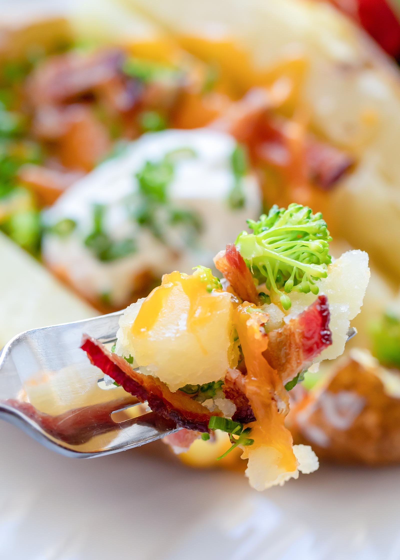A broccoli and bacon loaded baked potato is in the background and a fork is holding up a bite of the potato. Broccoli, chopped bacon and cheddar cheese are visible along with the creamy potato.