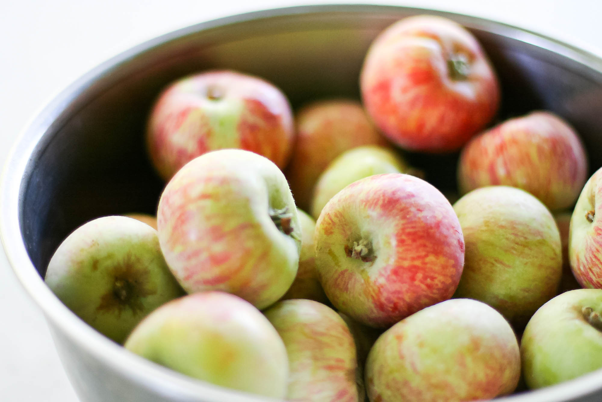 A bowl of apples are fresh foods with a long shelf life.