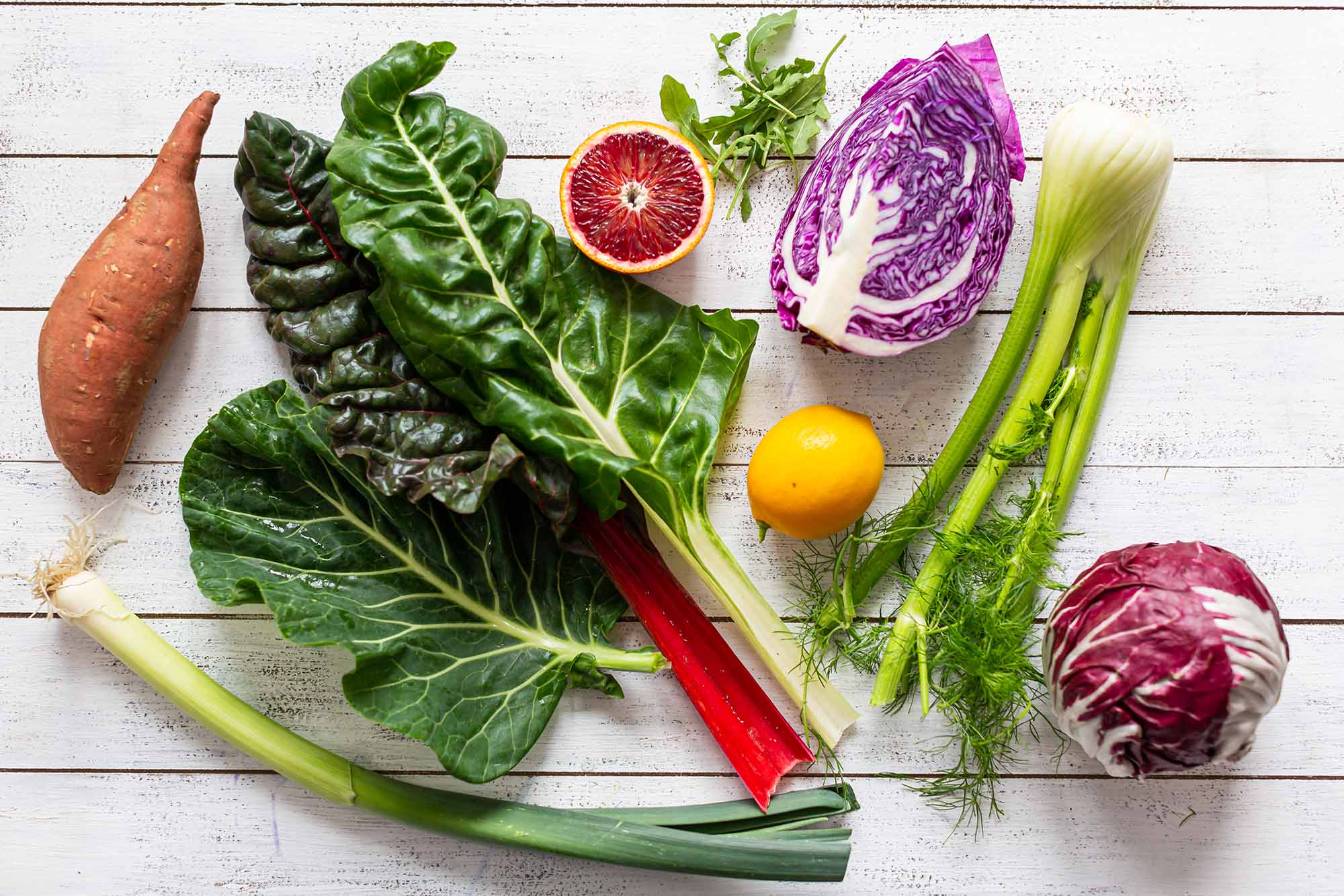 Fresh Foods Long Shelf Life such as sweet potato, leek, chard, citrus, fennel and cabbage.