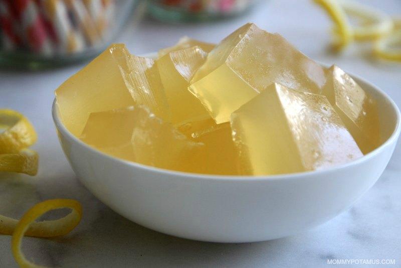 Homemade lemon jello in white bowl