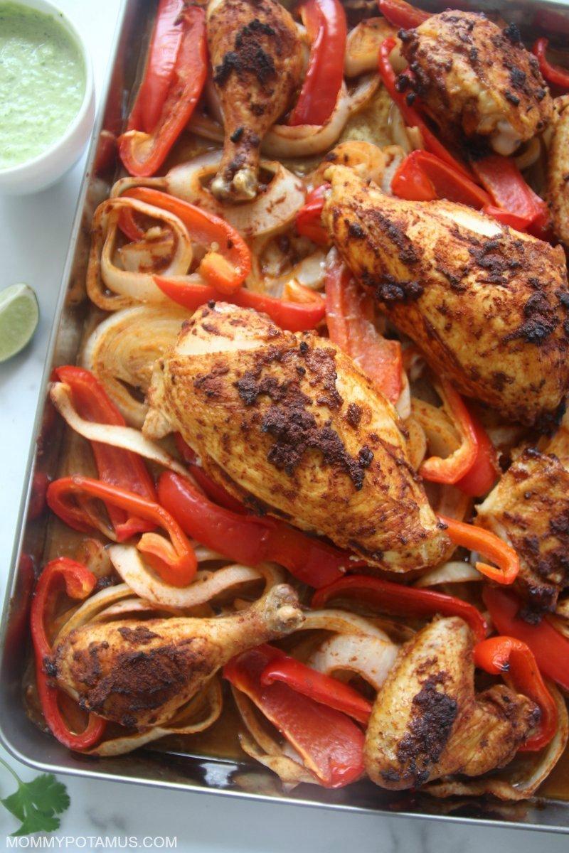 Peruvian chicken on baking pan