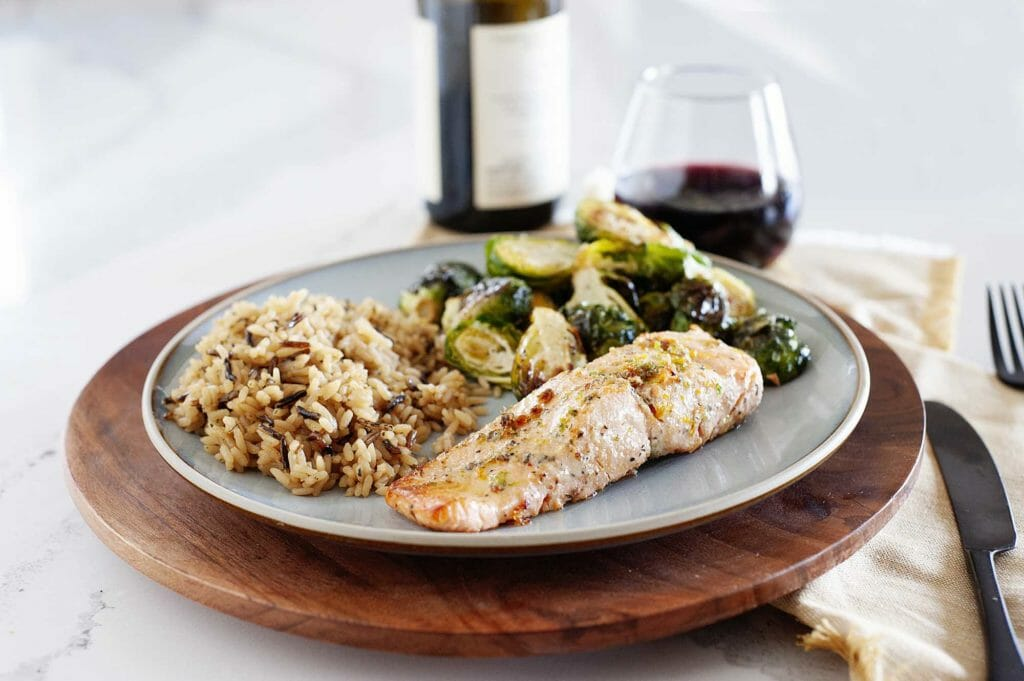 Wine pairing with salmon plated with rice and brussell sprouts.