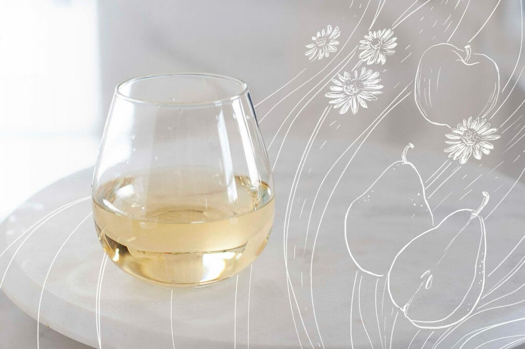 A glass of white wine with pears, apple and daisies drawn to the right.