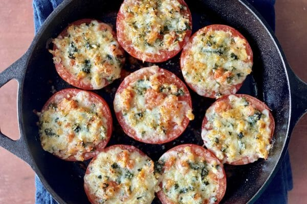 The best stuffed tomatoes in a cast iron skillet.
