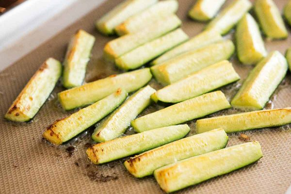 Roast the zucchini until the tips begin to brown